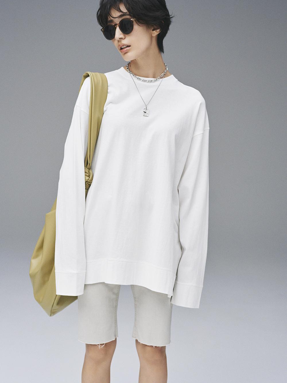 裾切替サイドスリットロングTシャツ(WHT-F)