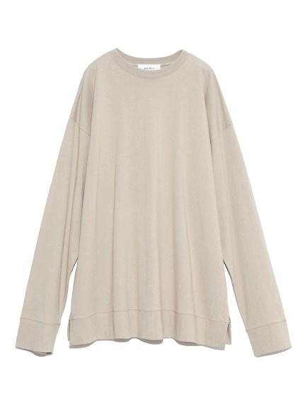 裾切替サイドスリットロングTシャツ(BEG-F)