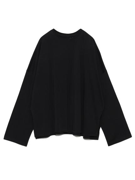 サイドスリットロングTシャツ(BLK-0)