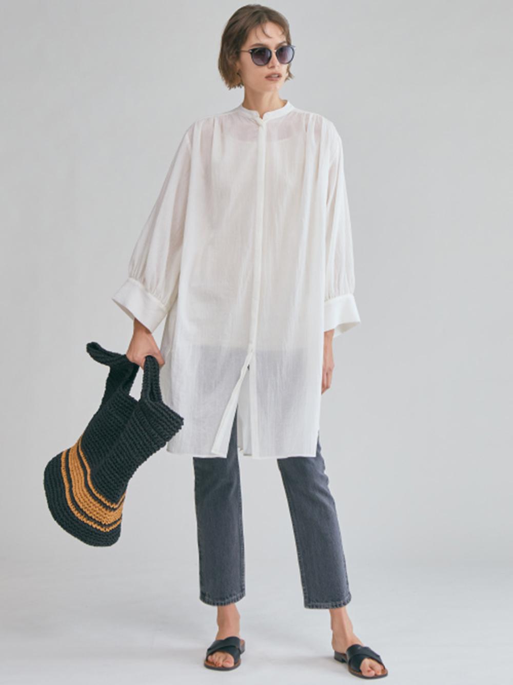 スタンドカラーギャザーロングシャツ