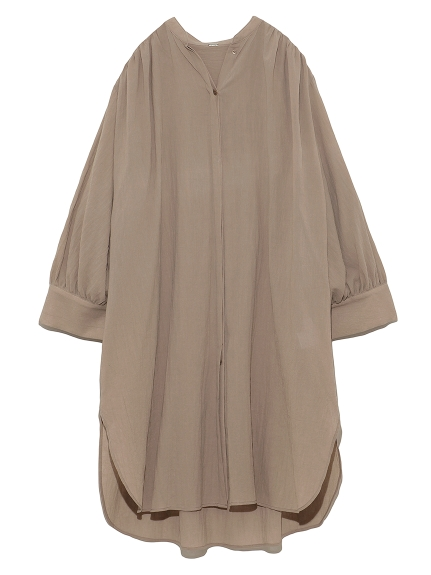 スタンドカラーギャザーロングシャツ(BEG-F)