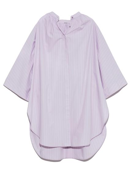 ポンチョ風スタンドカラーシャツ(STRIPE-F)