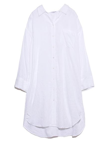 ロングリネンシャツ(WHT-F)