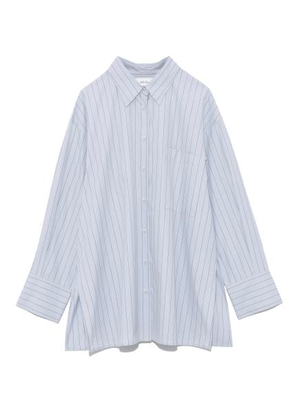 隠し釦ダウン袖ボリュームシャツ(BLU-0)