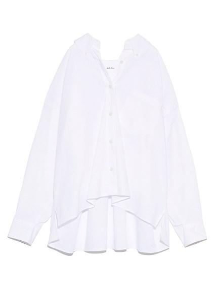 ボタンダウン短丈ワイドシャツ(WHT-0)