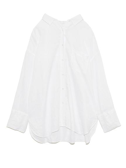 シワ加工フレンチリネンシャツ(WHT-F)