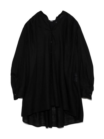 ギャザーAラインチュニックシャツ(BLK-F)