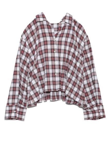 後ヨークギャザー短丈ネルシャツ(RED-0)