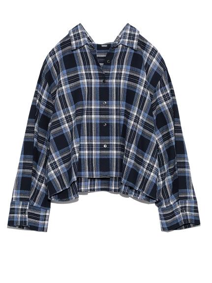 後ヨークギャザー短丈ネルシャツ(BLU-0)
