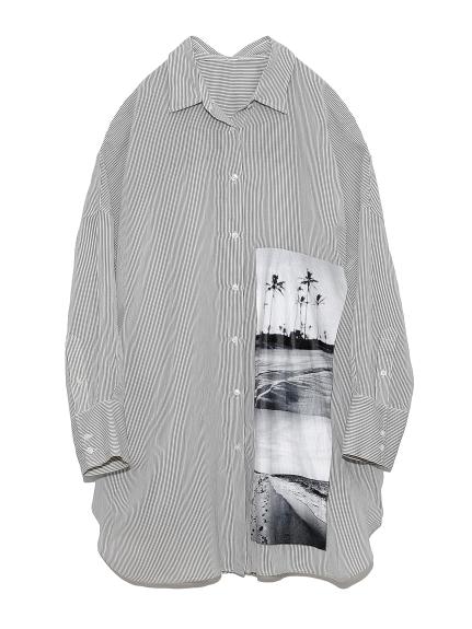 ロングリネンシャツ(STRIPE-F)