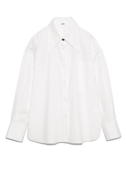 配色釦ビッグカラーワイドシャツ(WHT-F)