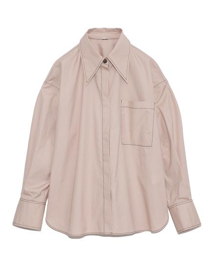 配色釦ビッグカラーワイドシャツ(PNK-F)