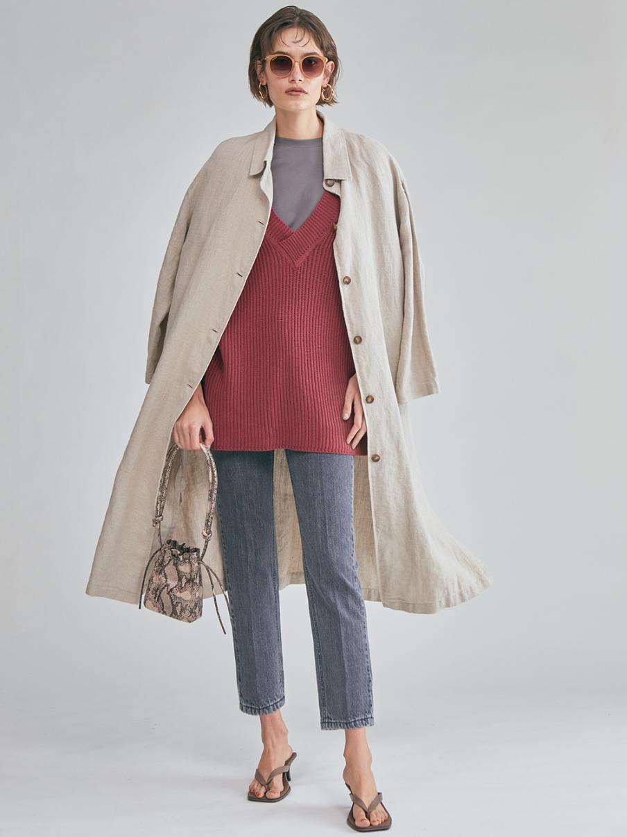リネンロングシャツライクコート