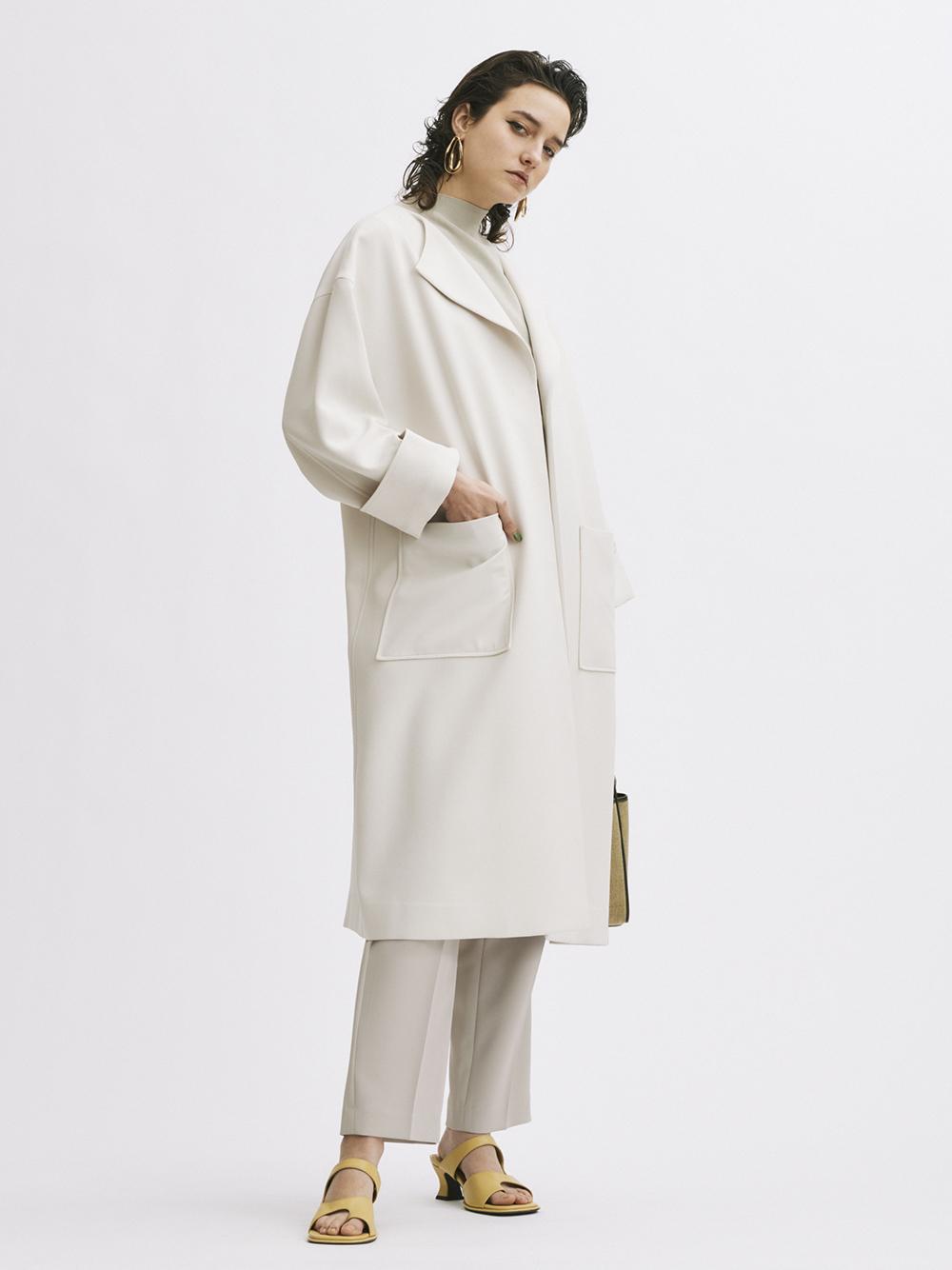 ラペルカラーボックス袖コート