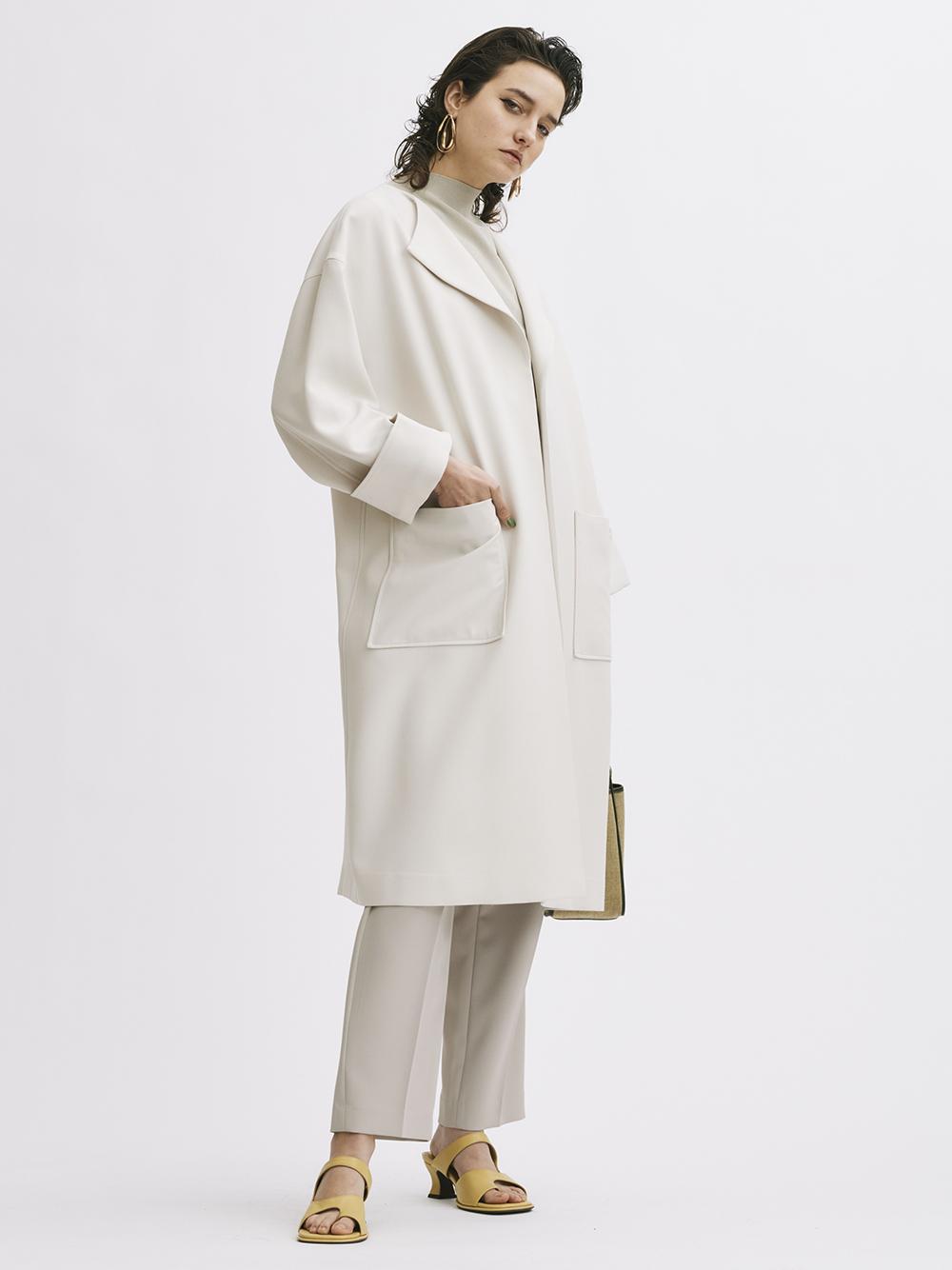 ラペルカラーボックス袖コート(IVR-0)