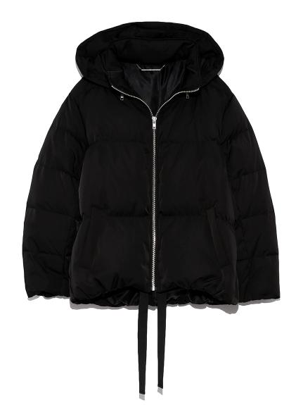 裾リボンショートダウンジャケット(BLK-0)