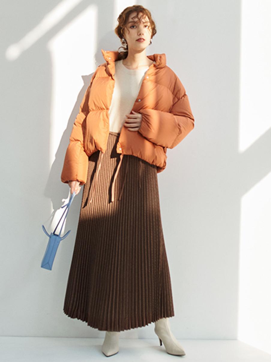 裾リボンソフトショートダウンジャケット(ORG-0)