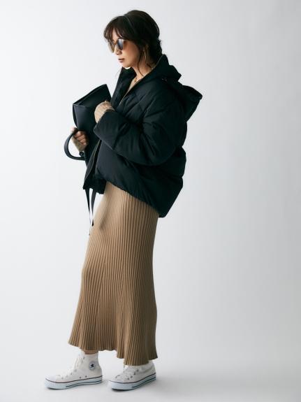 裾リボンダウンジャケット(BLK-0)