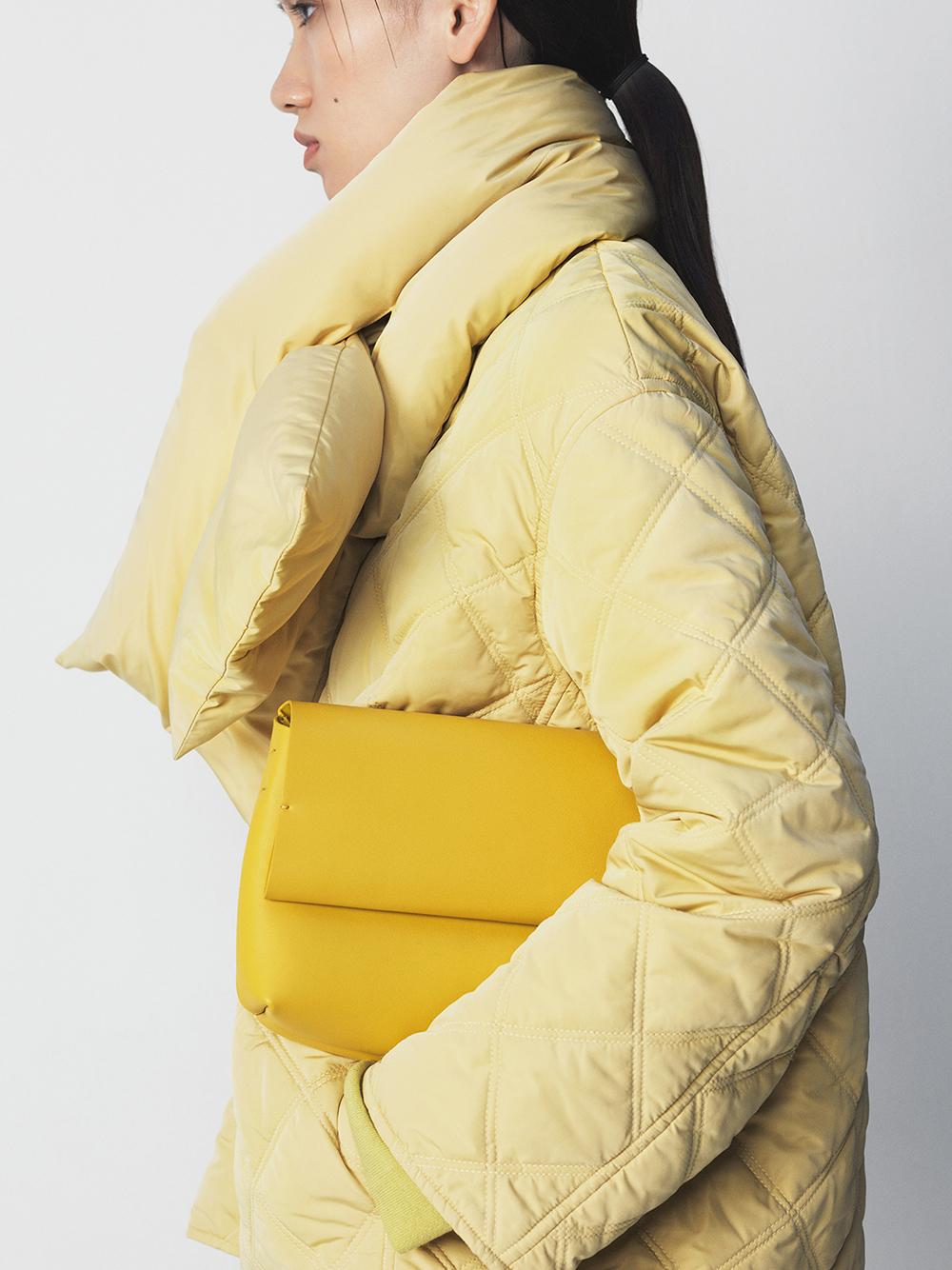 ノーカラーAラインキルティングジャケット(YEL-0)