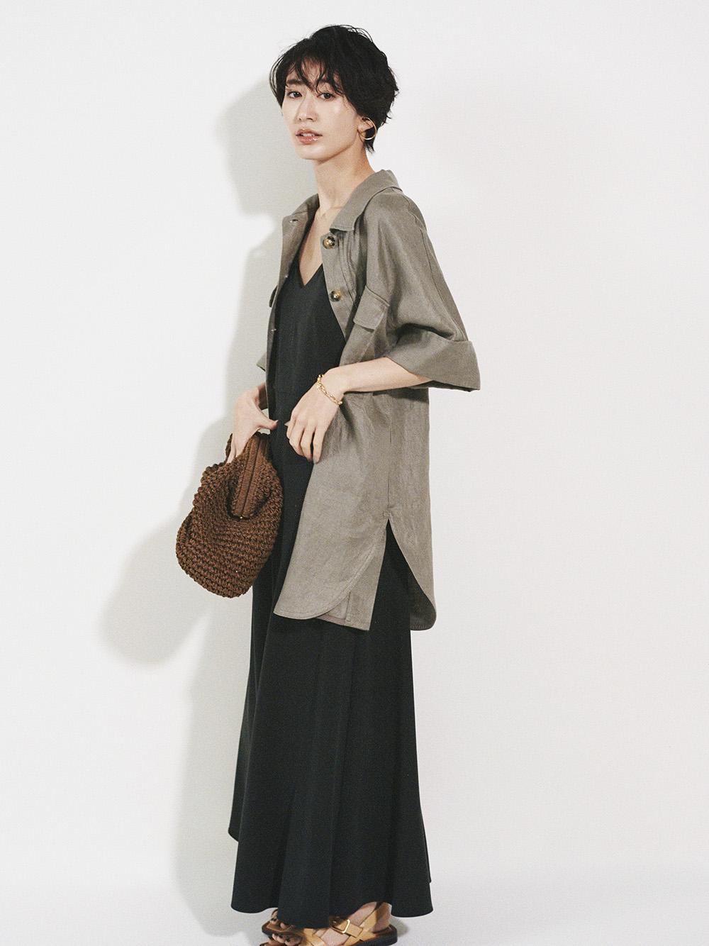 ボックスシルエット半袖シャツジャケット(MOC-F)