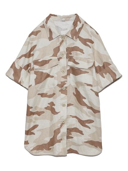 ボックスシルエット半袖シャツジャケット(MIX-F)