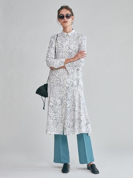 マーメイドラインジャージシャツドレス(WHT-0)