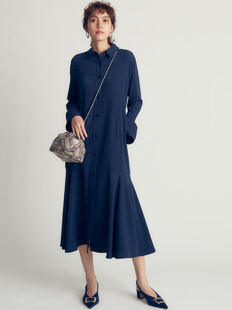 マーメイドラインジャージシャツドレス(NVY-0)