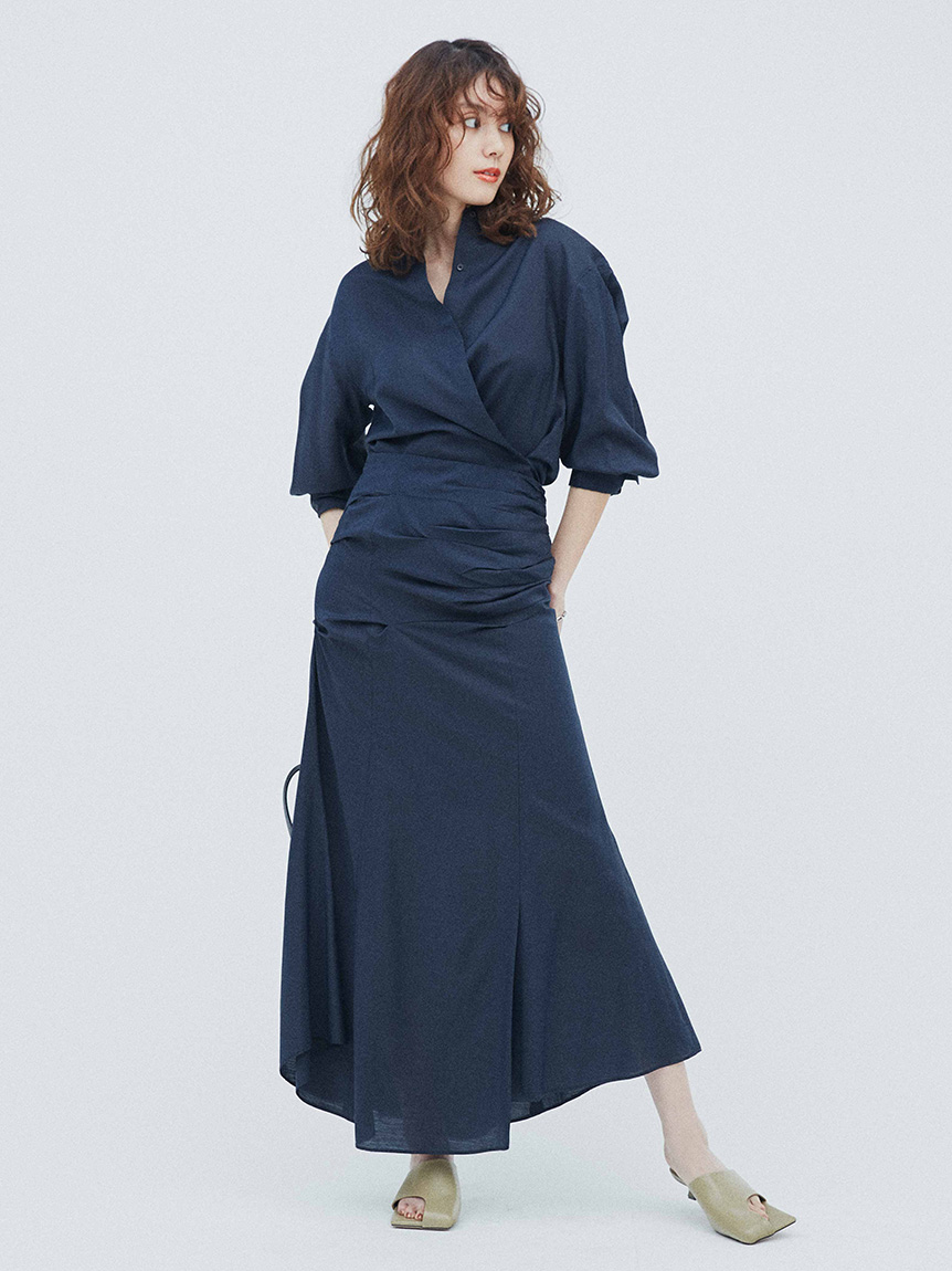 2wayシャツ×ドレープスカートSET UP(DNVY-0)