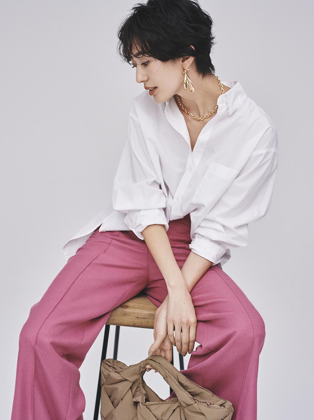 裾ベンツ後ろゴムワイドパンツ(PNK-0)