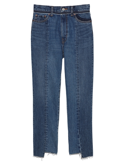 フロント裾段差加工デニムパンツ(BLU-0)