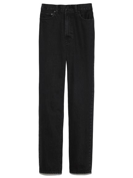 裾たまりストレートデニムパンツ(BLK-0)