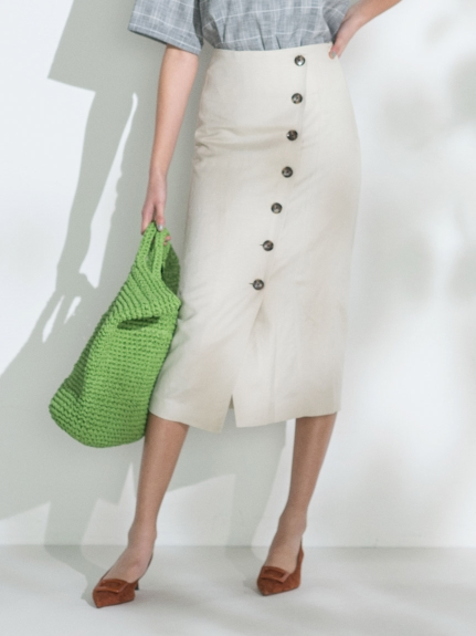 セットアップボタンデザインタイトスカート