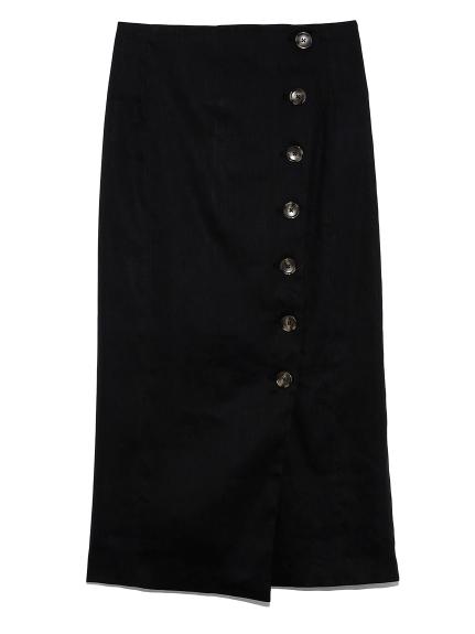 セットアップボタンデザインタイトスカート(BLK-0)