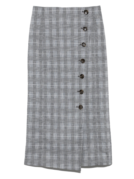 セットアップボタンデザインタイトスカート(CHECK-0)