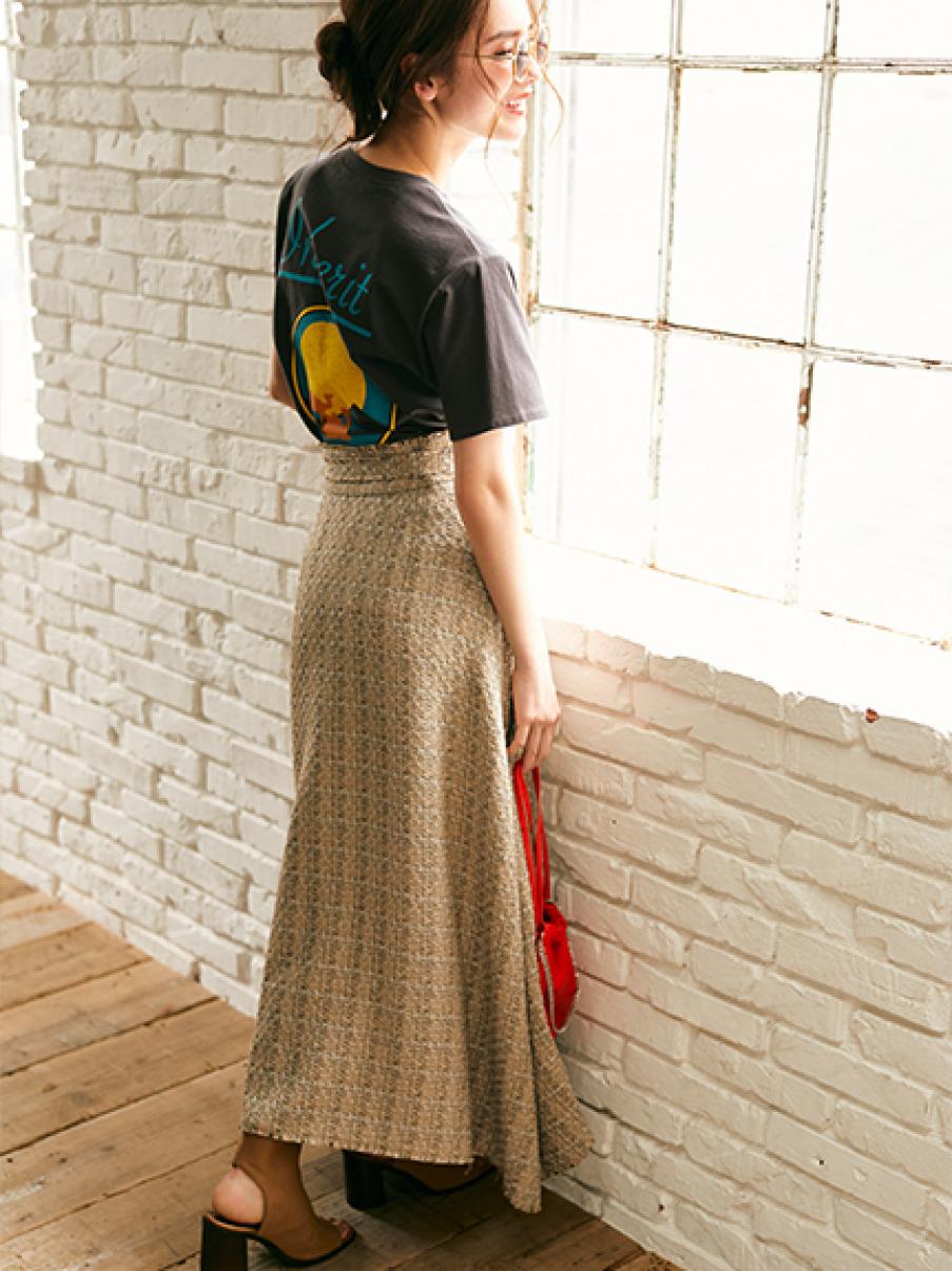 サマーツイードマキシスカート(BEG-0)