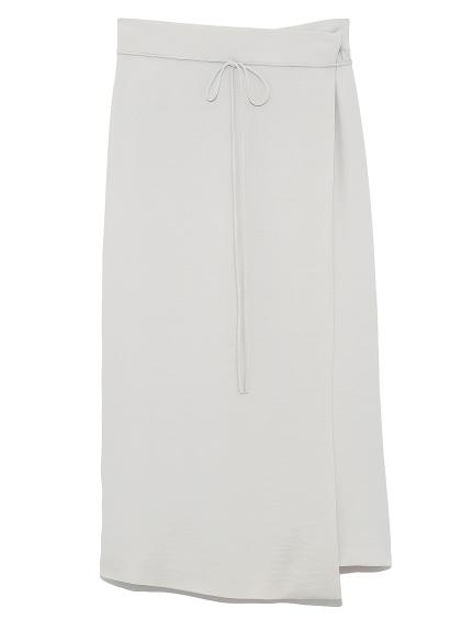 ラップ風台形サテンスカート(IVR-0)