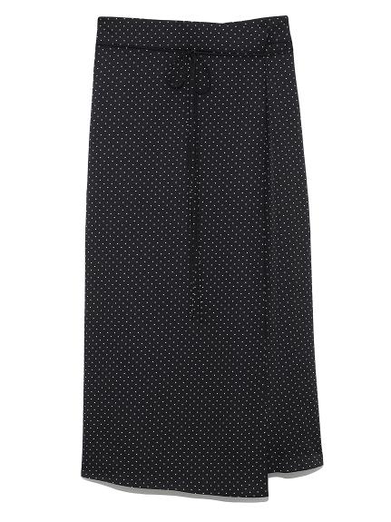 ラップ風台形サテンスカート(DOT-0)