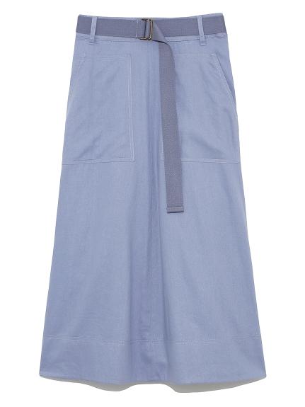 麻混ワーク巻き風スカート(BLU-0)