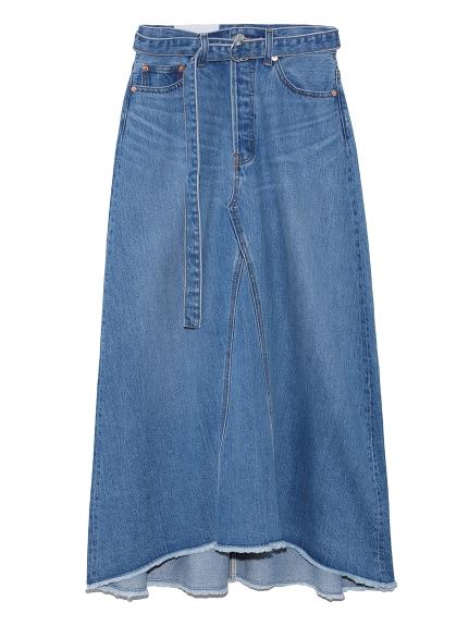 リメイク風Aラインデニムスカート(LBLU-0)
