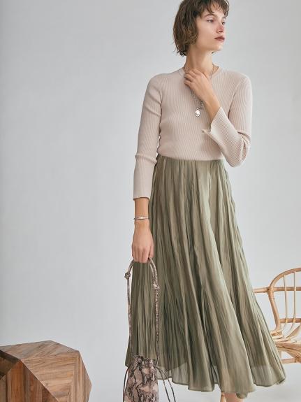 タックフレアサテンマキシスカート