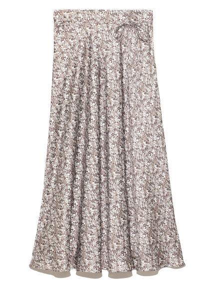 フラワープリントサテンロングスカート