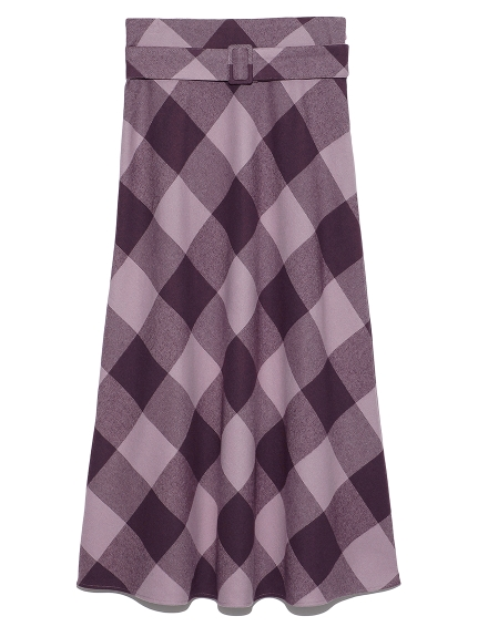 ブロックチェックバイアスナロースカート