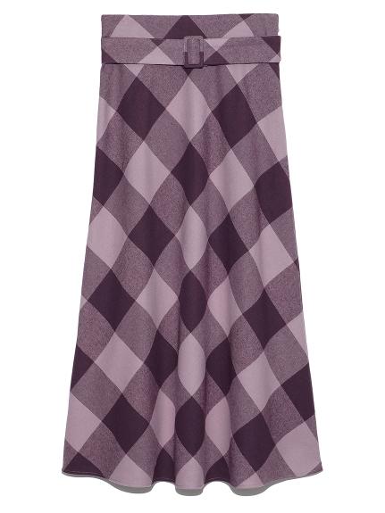 ブロックチェックバイアスナロースカート(PPL-0)