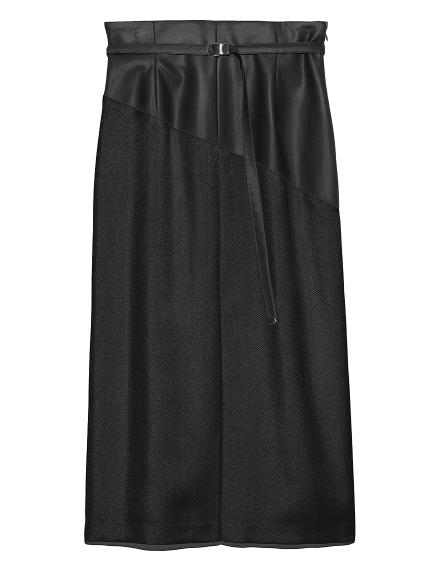 フェイクレザーバイカラーストレートタイトスカート(BLK-0)