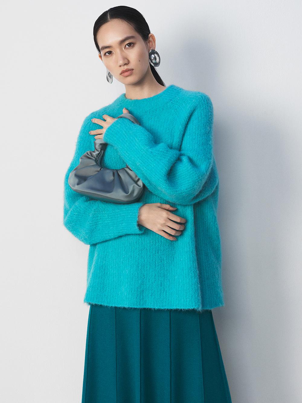 ウール混パネルデザインミディスカート