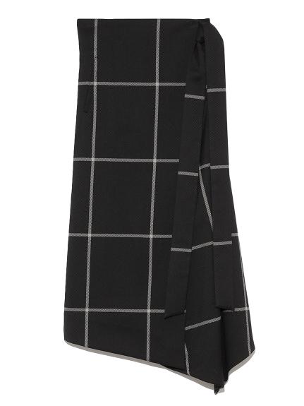 ウエストリボンラップデザインスカート(CHECK-0)
