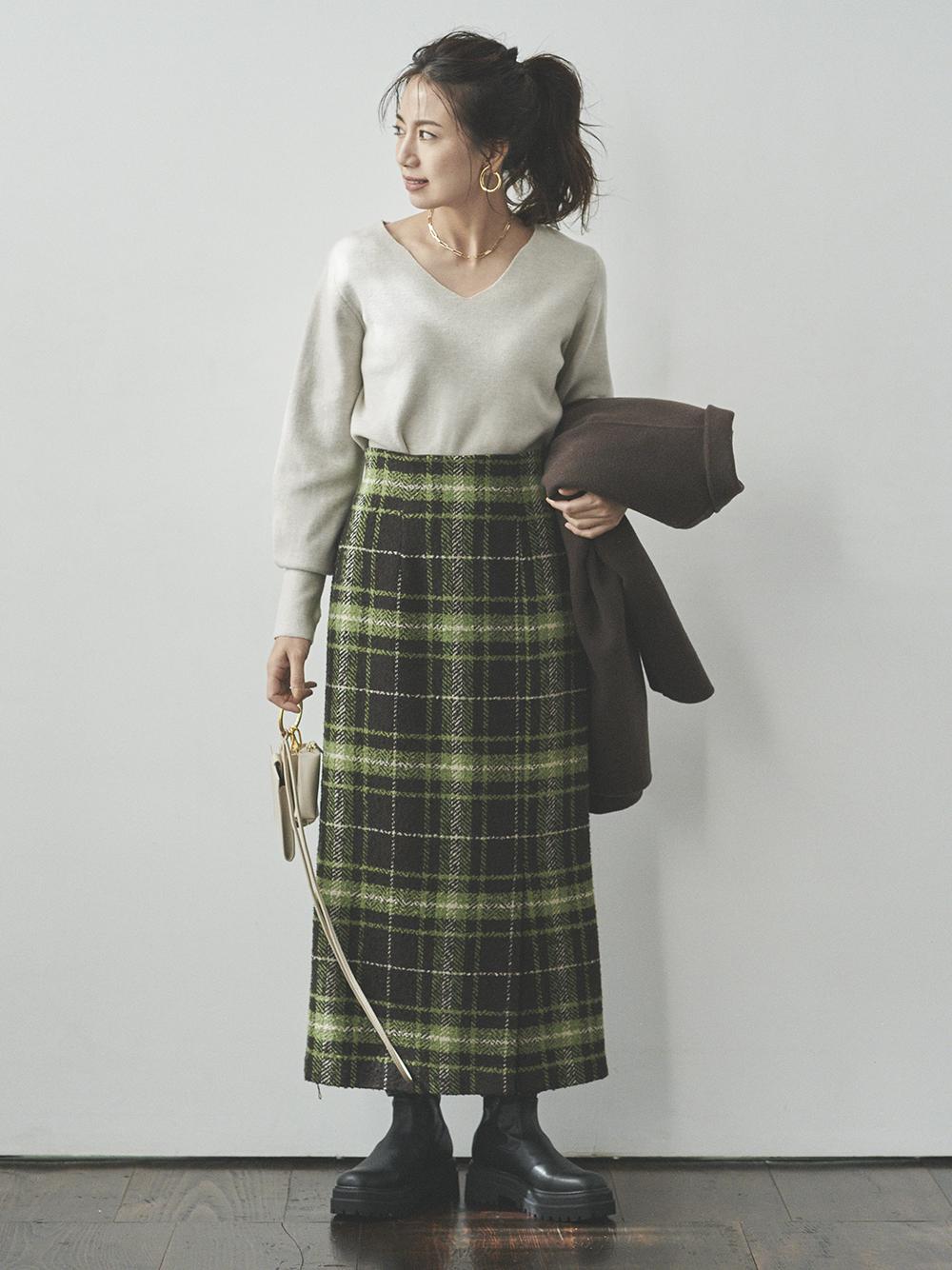 チェック柄サイドベンツロングスカート