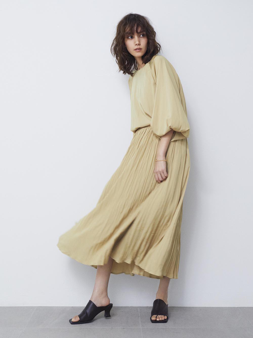 ワッシャープリーツナロースカート(YEL-0)
