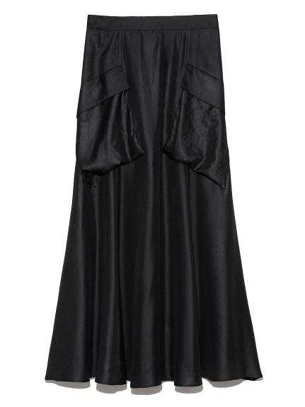 ポケットデザインフレアスカート(BLK-0)