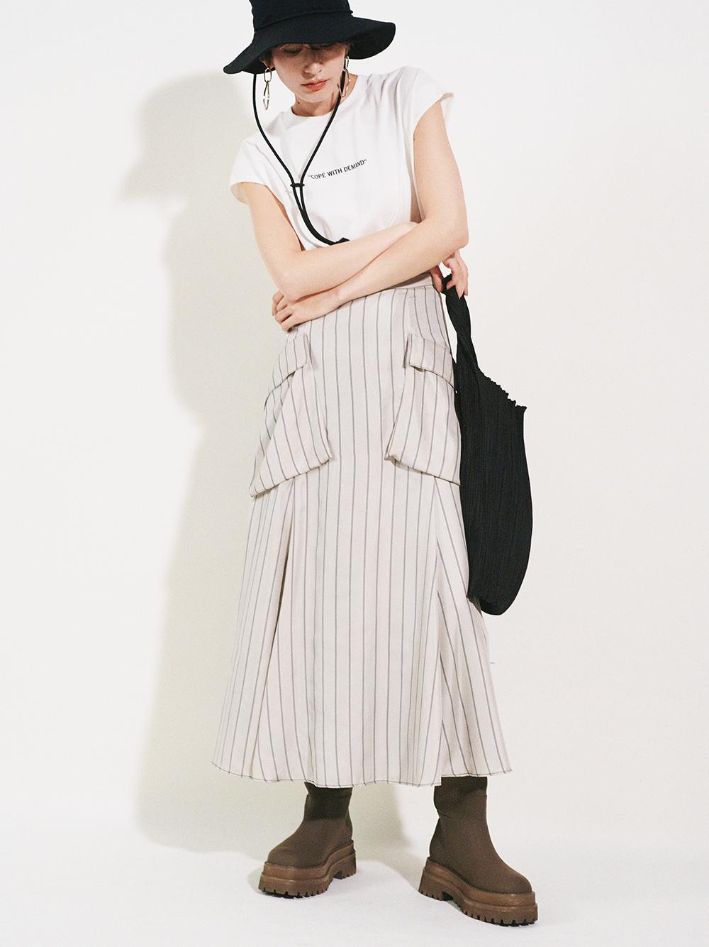 ポケットデザインフレアスカート(STRIPE-0)